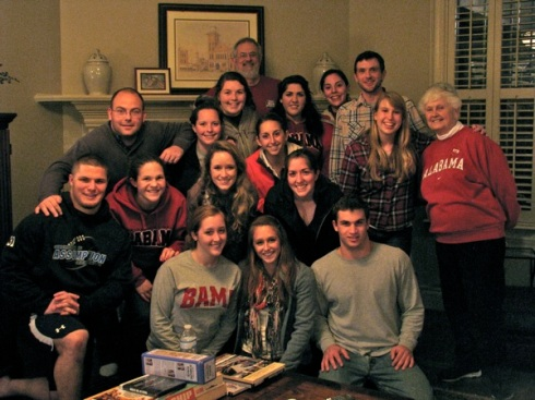 2012 Assumption group with Mom in her living room on visit's last night.