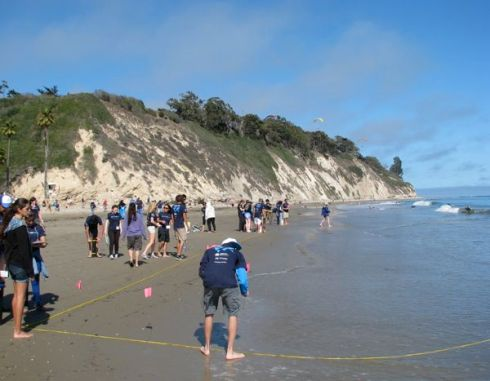 Sectioning off beach before digging core samples.