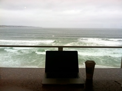 One favorite writing spot: any room with a view of Monterey Bay.