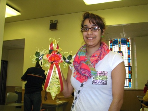 Christina with one of the crosses she made (and I bought).