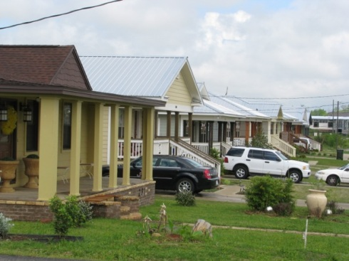 Seven Habitat homes on Seventh, each with slightly different look.