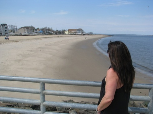 Murphy looks back at Union Beach shoreline.