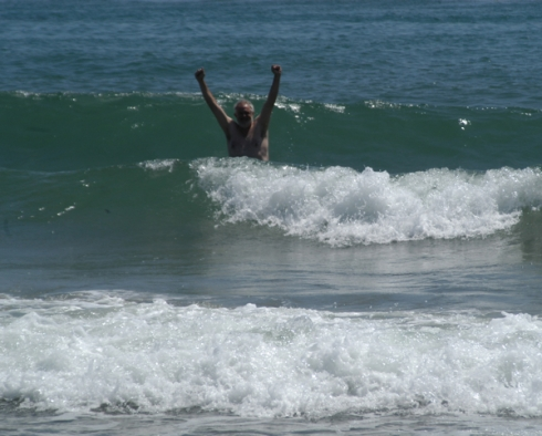 My celebratory plunge into the Pacific. (Photo by Karena Ryals.)