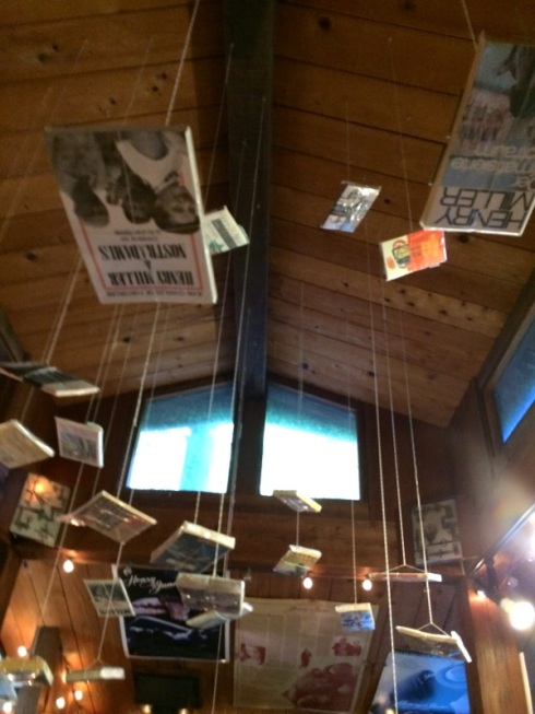Books hanging from Henry Miller Library ceiling.